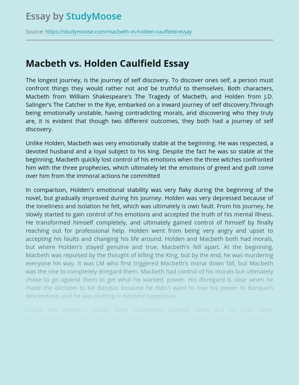 Macbeth vs. Holden Caulfield