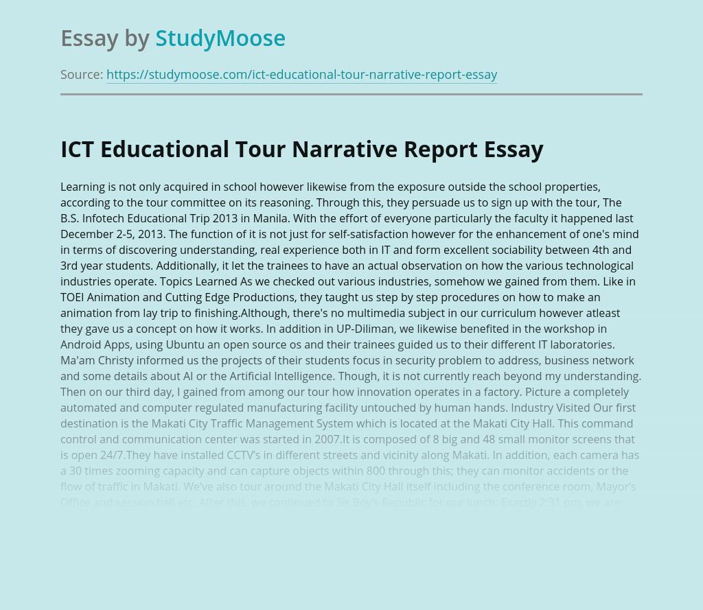 ICT Educational Tour Narrative Report