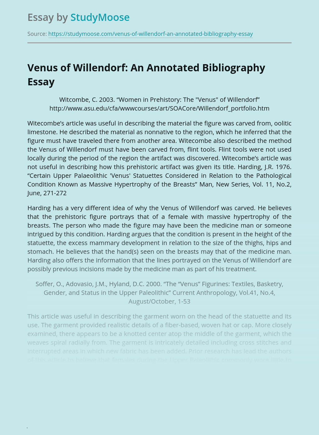 Venus of Willendorf: An Annotated Bibliography