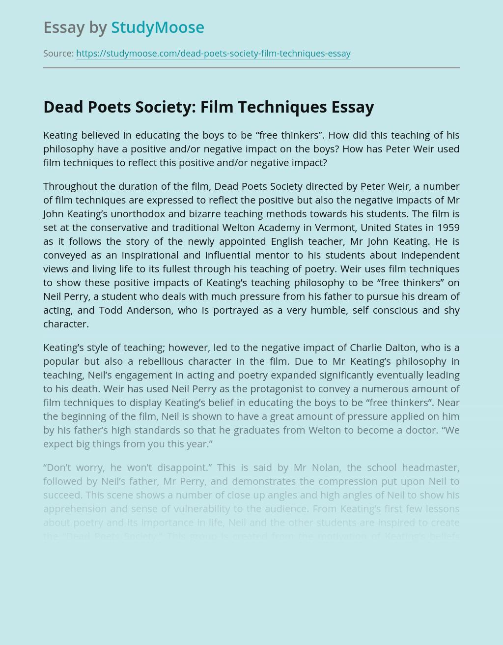 Dead Poets Society: Film Techniques
