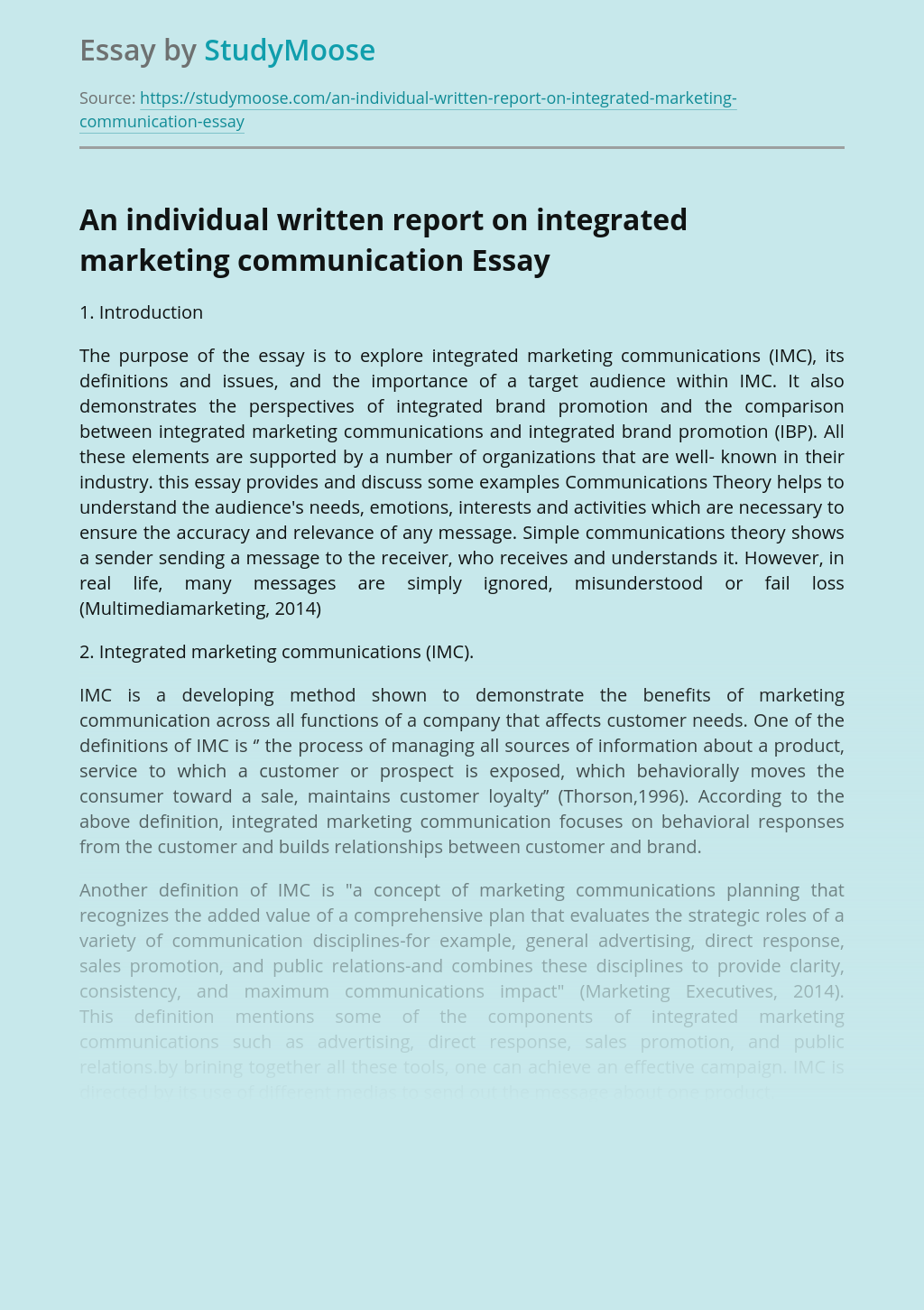 An individual written report on integrated marketing communication