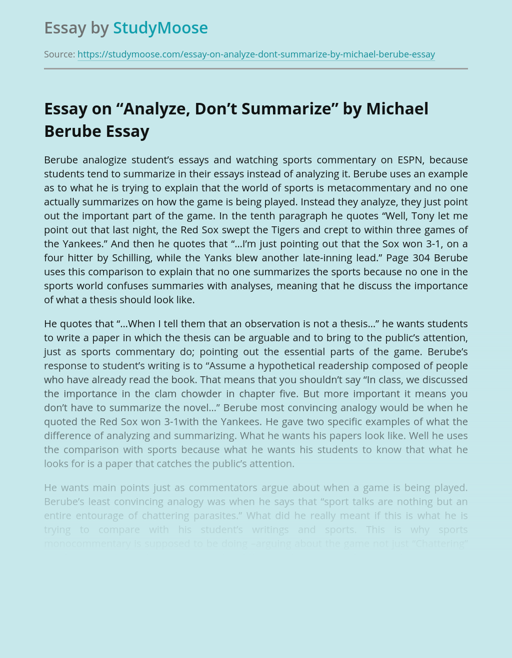 "Essay on ""Analyze, Don't Summarize"" by Michael Berube"