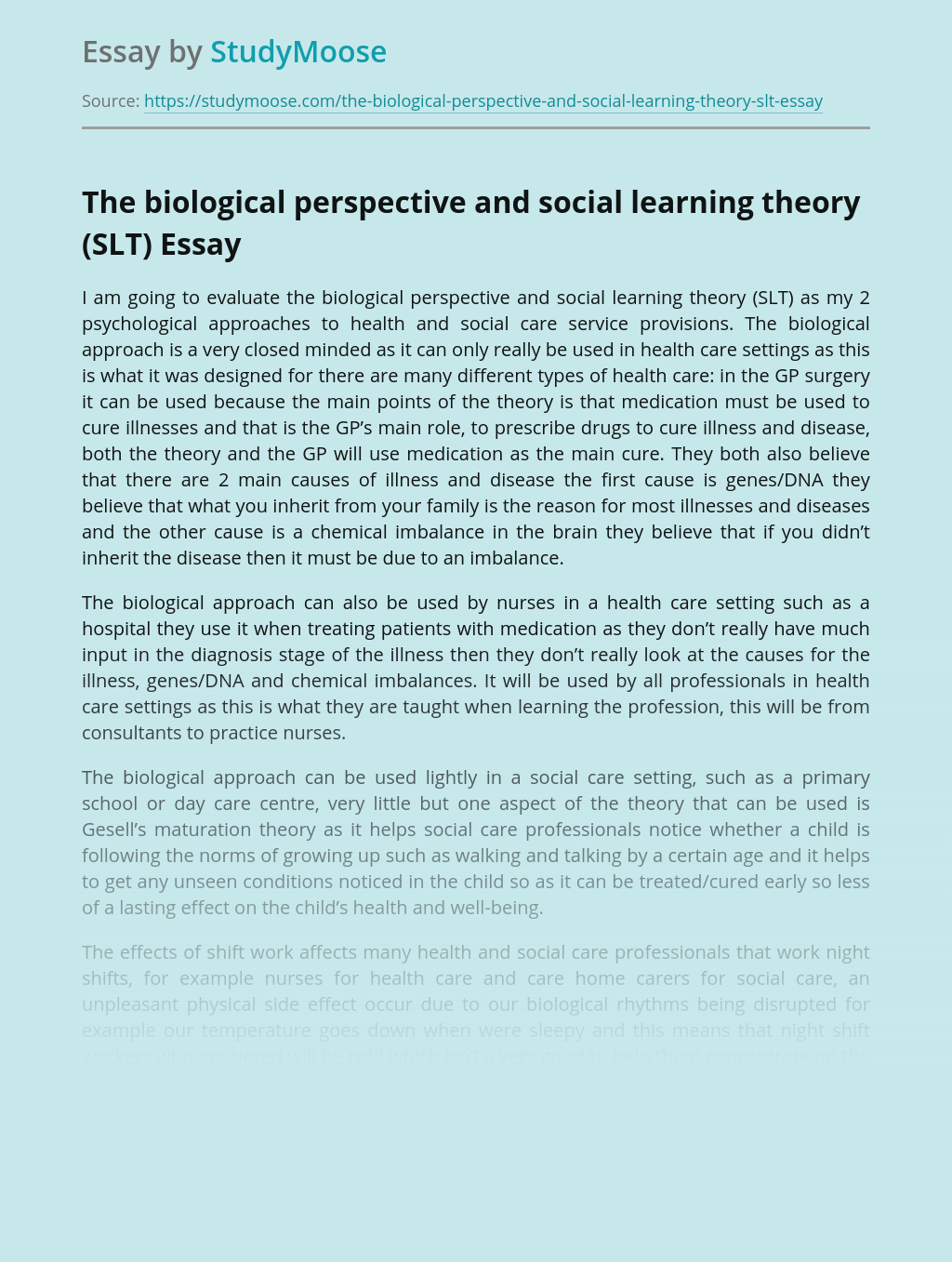 The biological perspective and social learning theory (SLT)