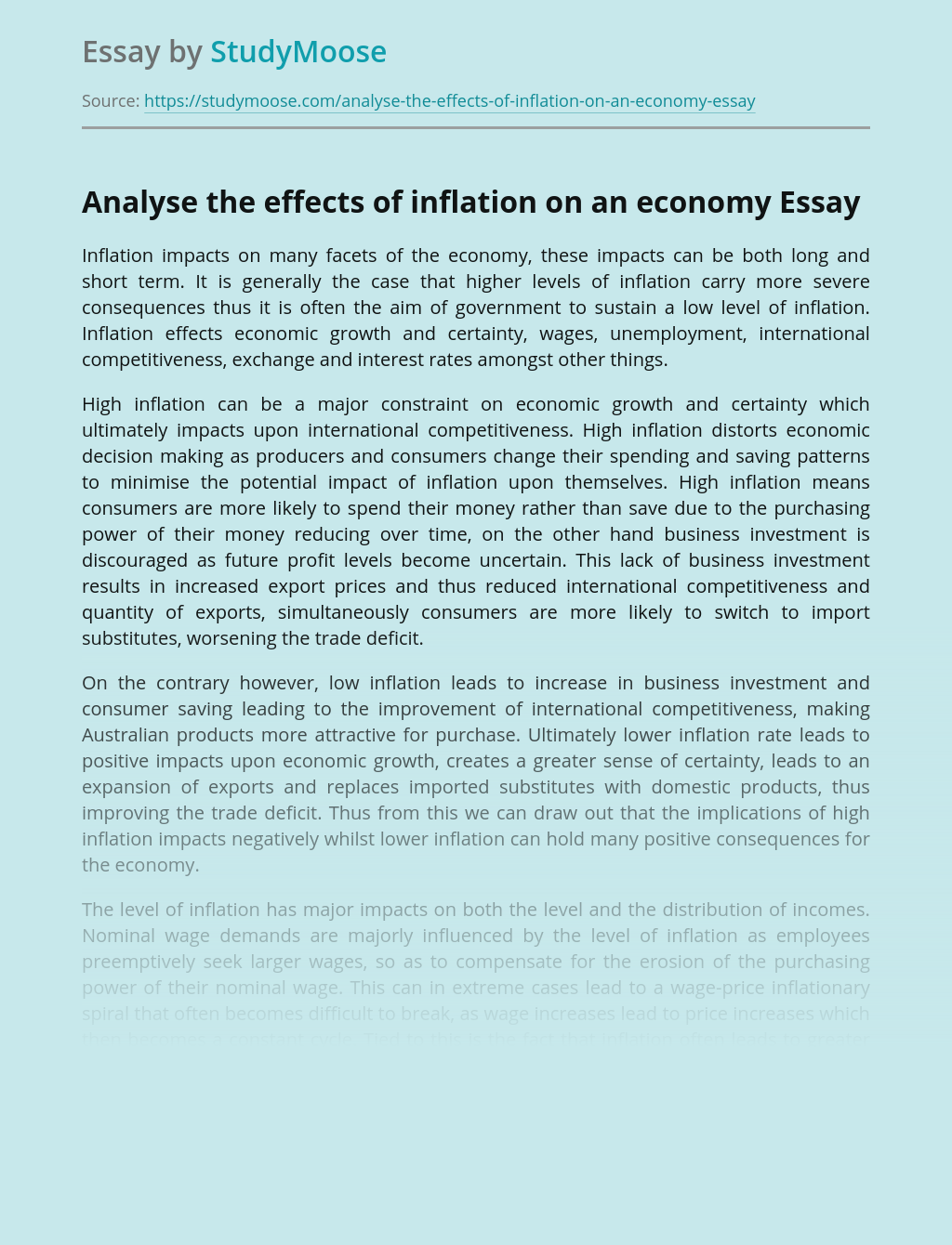 Analyse the effects of inflation on an economy