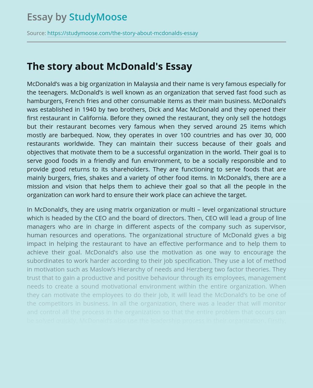 McDonald's Fast Food Restaurants in Malaysia