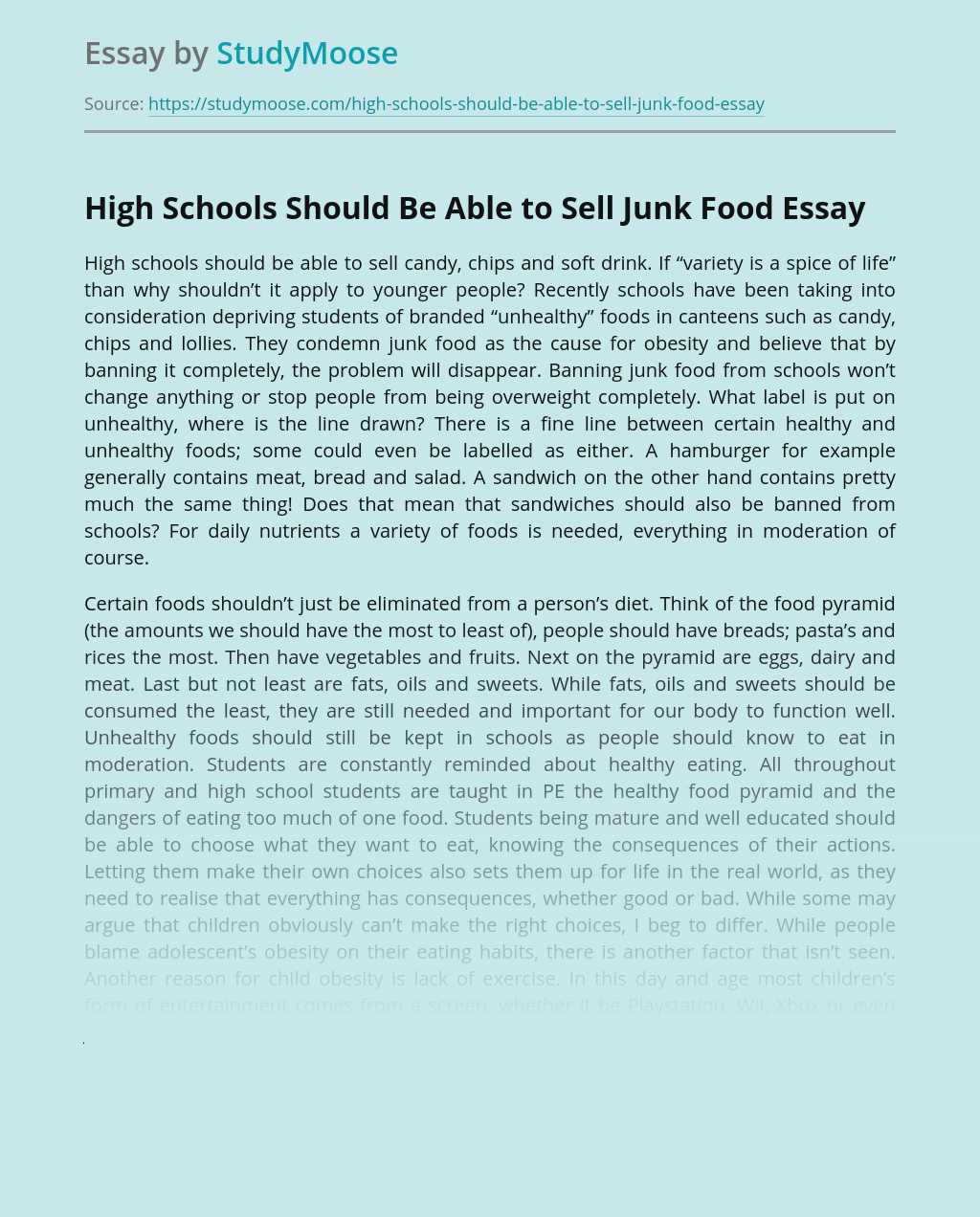High Schools Should Be Able to Sell Junk Food
