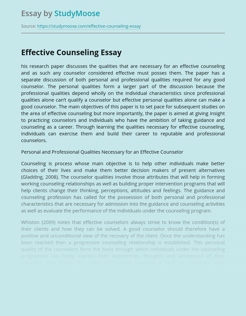 Qualities Needed for Effective Counseling