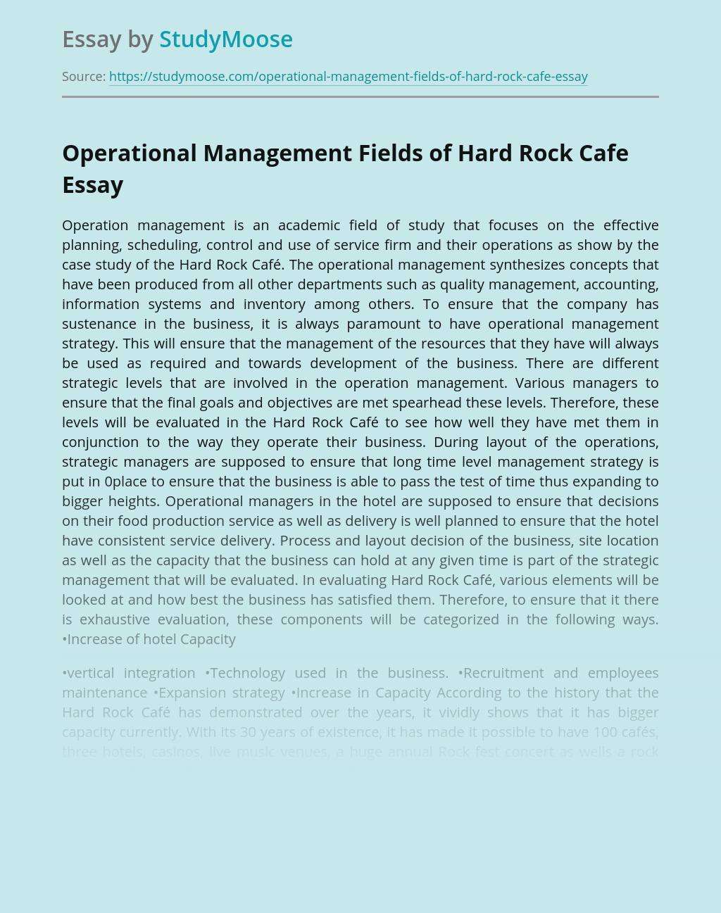 Operational Management Fields of Hard Rock Cafe