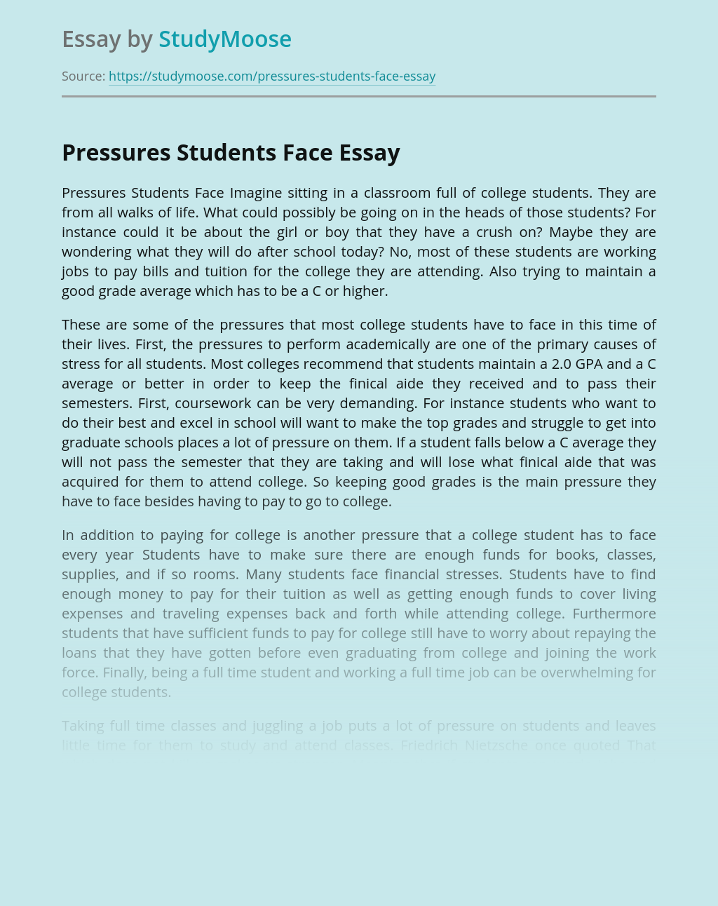 Pressures Students Face