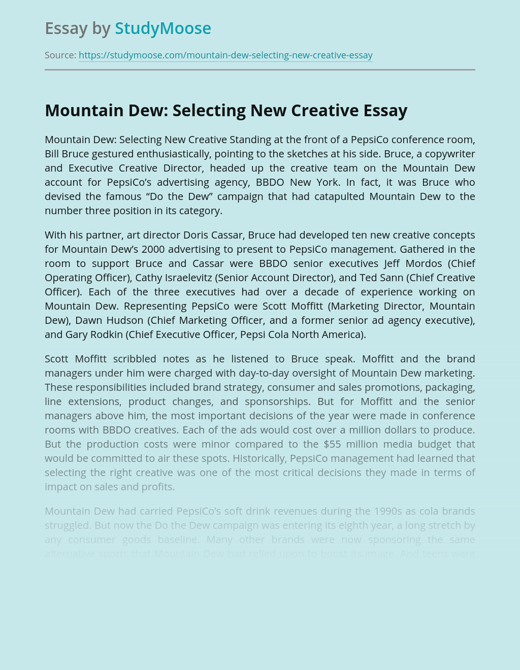 Mountain Dew: Selecting New Creative