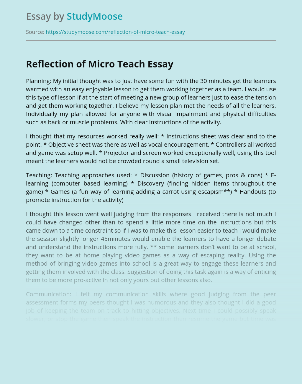 Reflection of Micro Teach