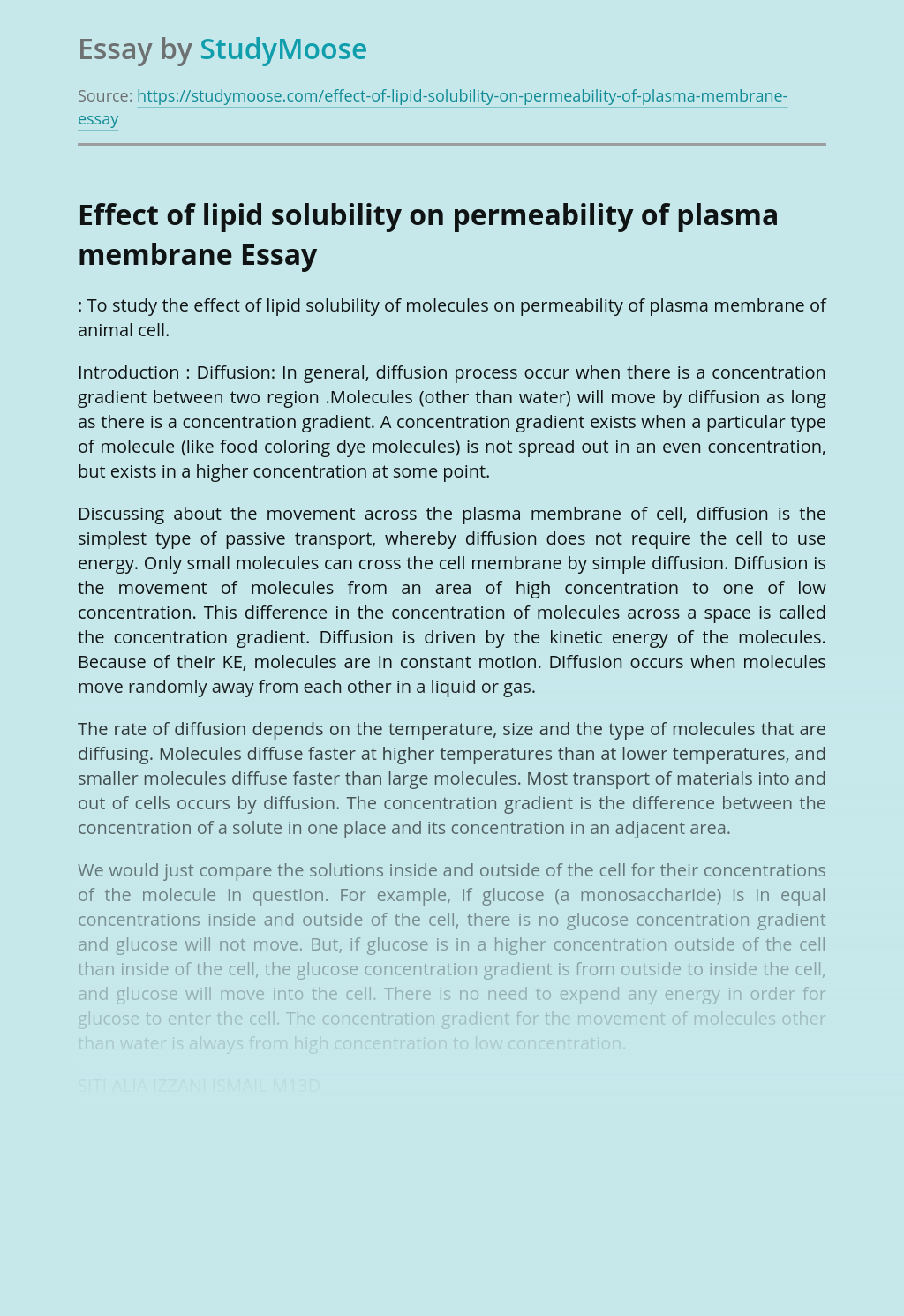 Effect of lipid solubility on permeability of plasma membrane