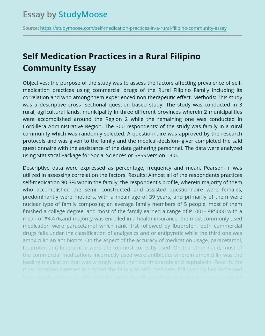 Self Medication Practices in a Rural Filipino Community
