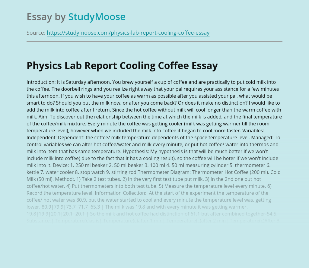 Physics Lab Report Cooling Coffee