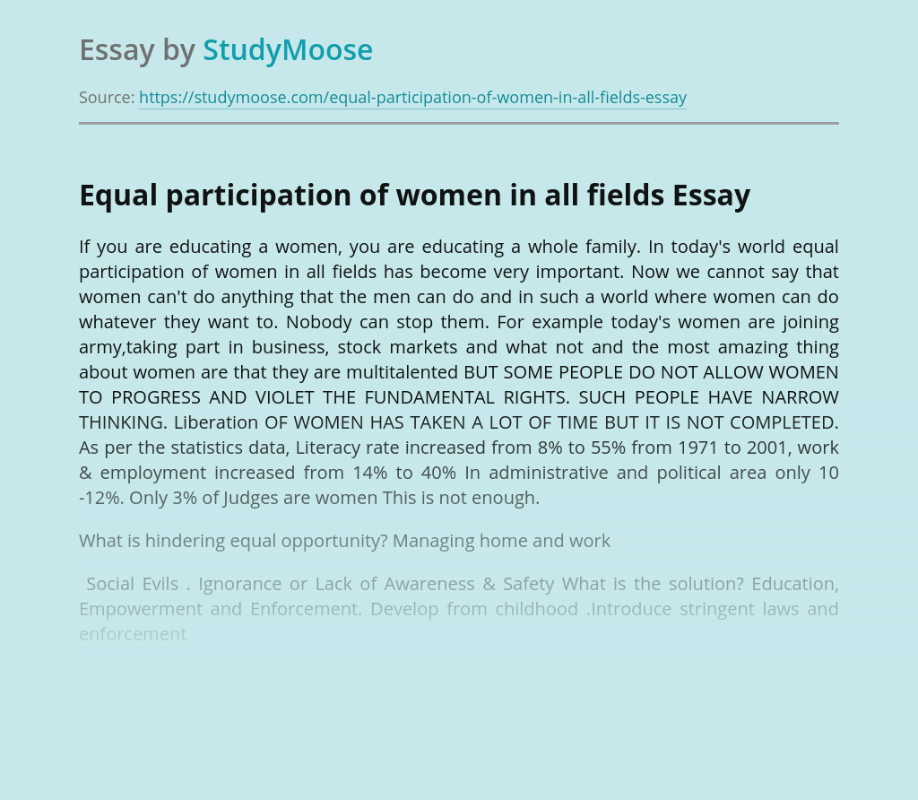 Equal participation of women in all fields