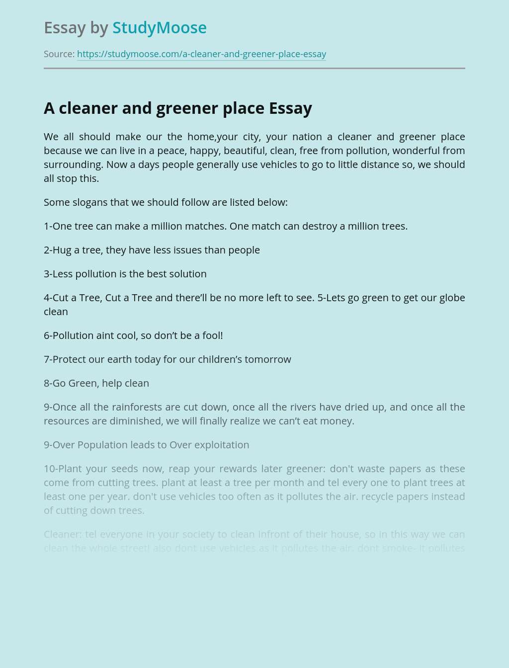 A cleaner and greener place