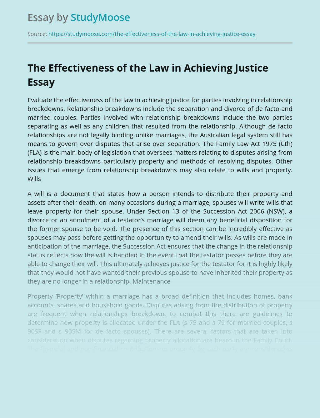 The Effectiveness of the Law in Achieving Justice