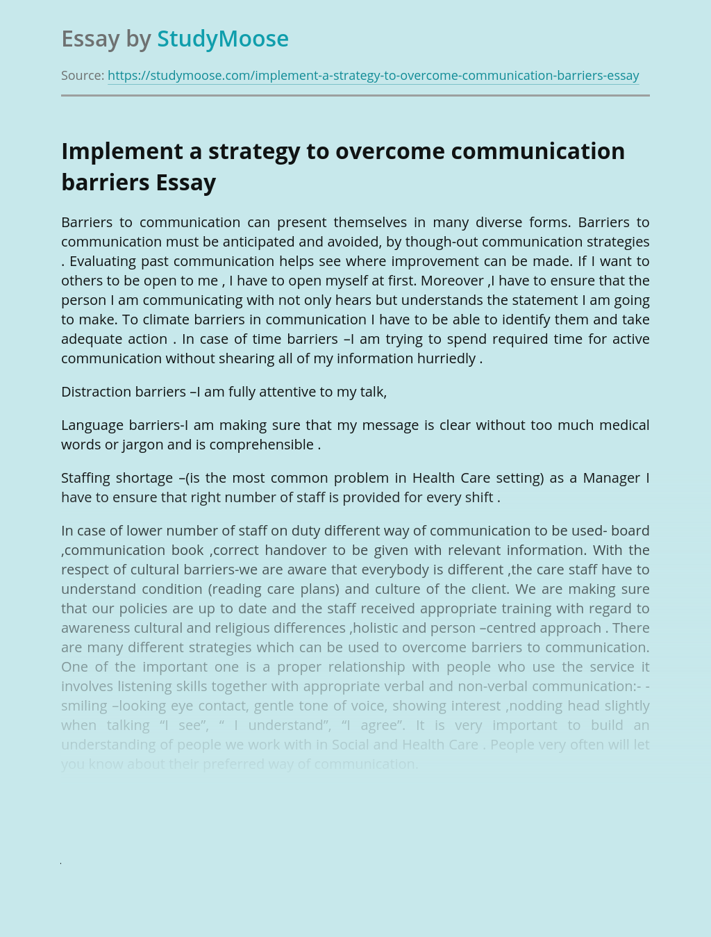 Implement a strategy to overcome communication barriers