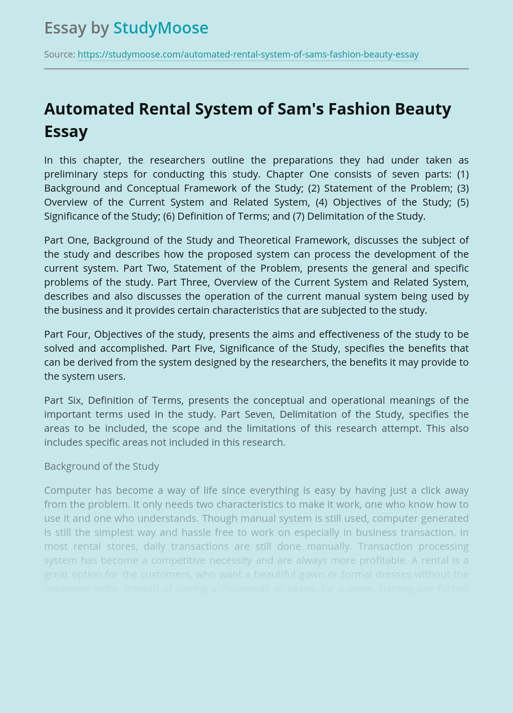 Automated Rental System of Sam's Fashion Beauty