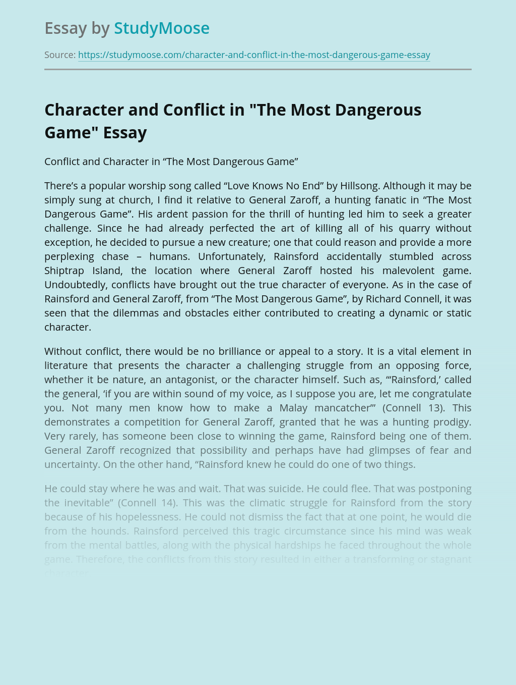 """Character and Conflict in """"The Most Dangerous Game"""""""