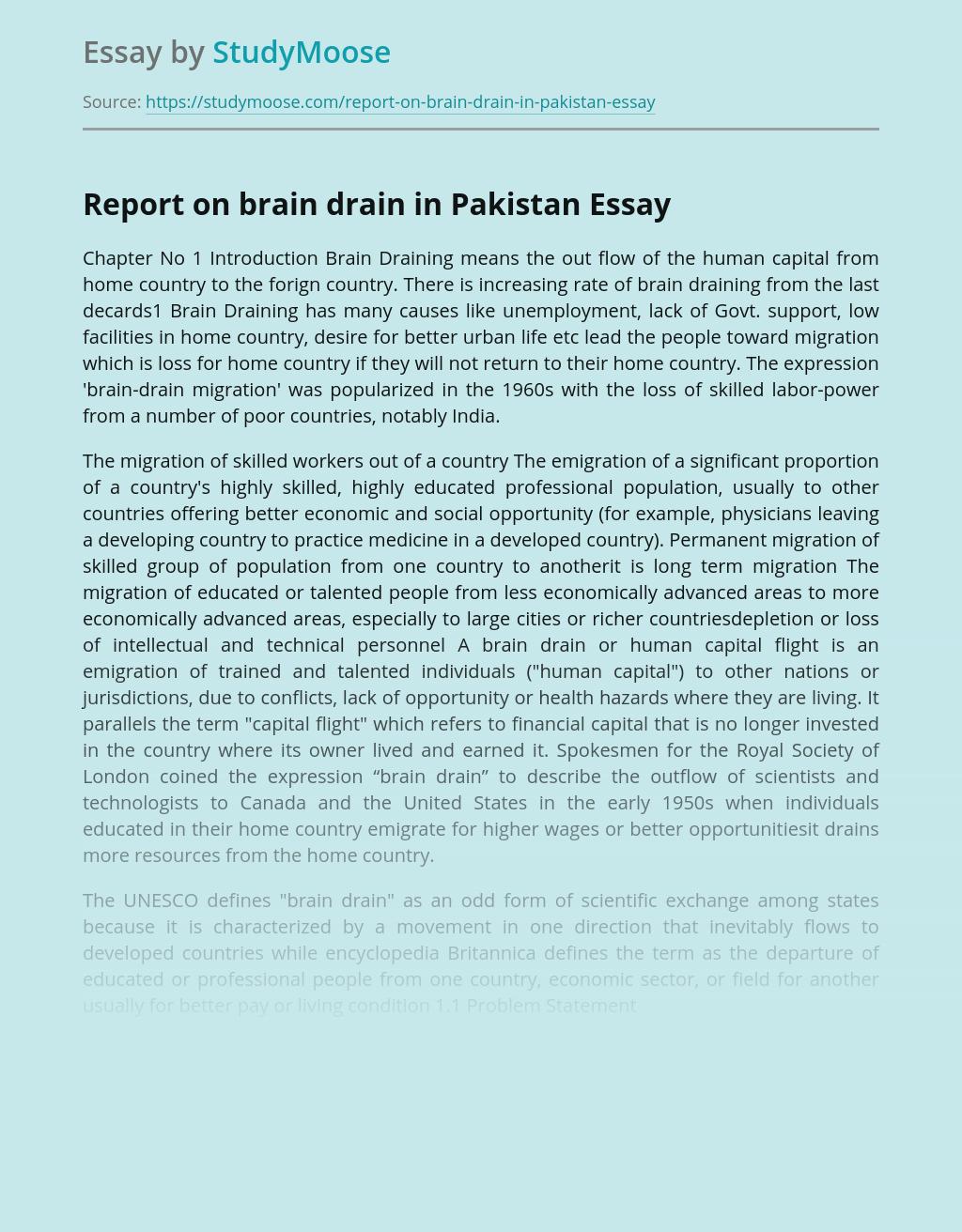 Report on brain drain in Pakistan