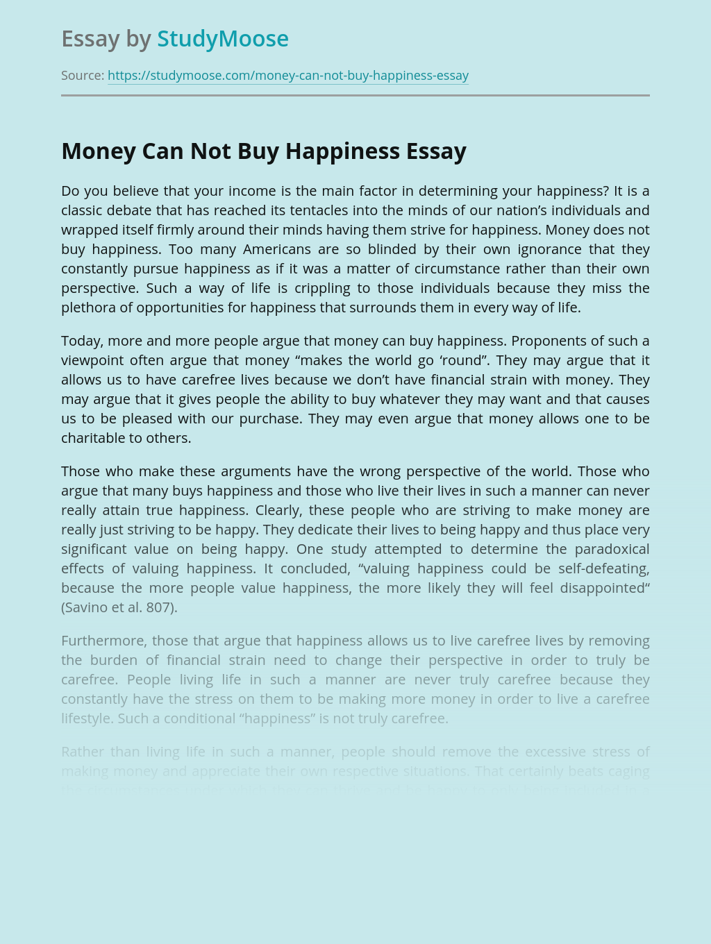 Money Can Not Buy Happiness