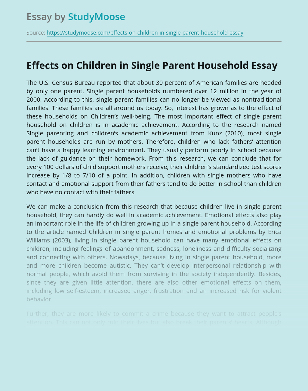 Effects on Children in Single Parent Household