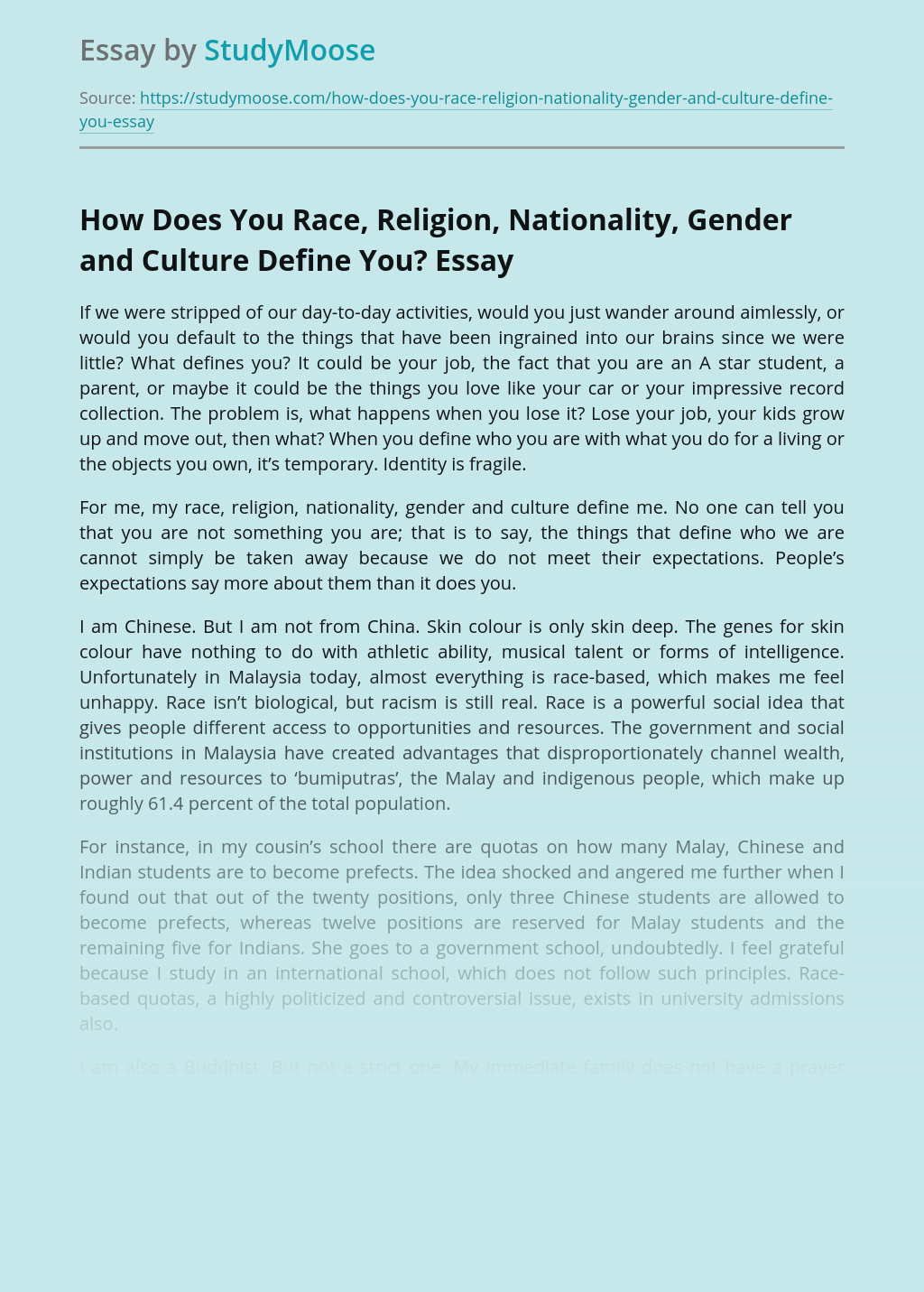 How Does You Race, Religion, Nationality, Gender and Culture Define You?