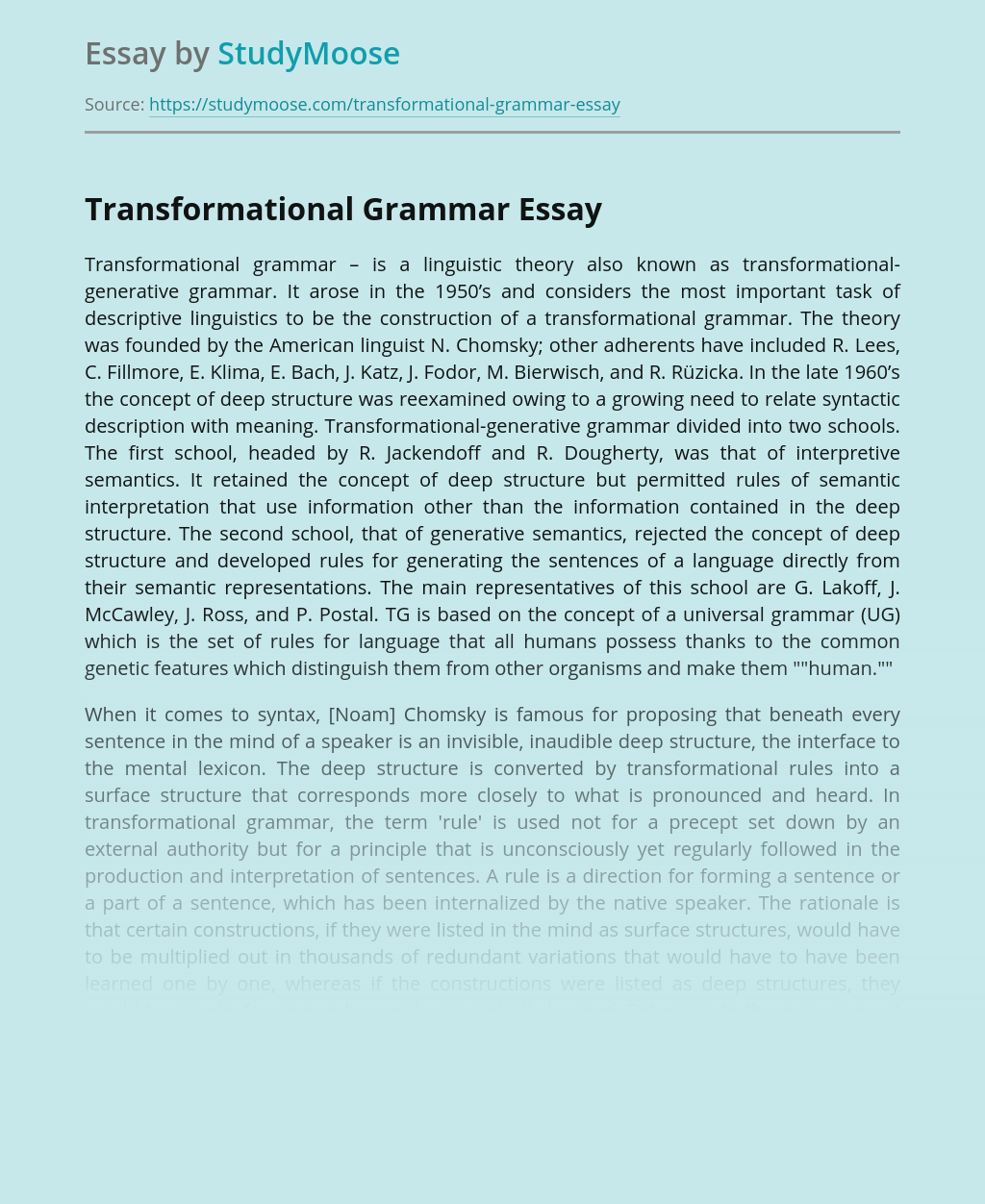 Transformational Grammar