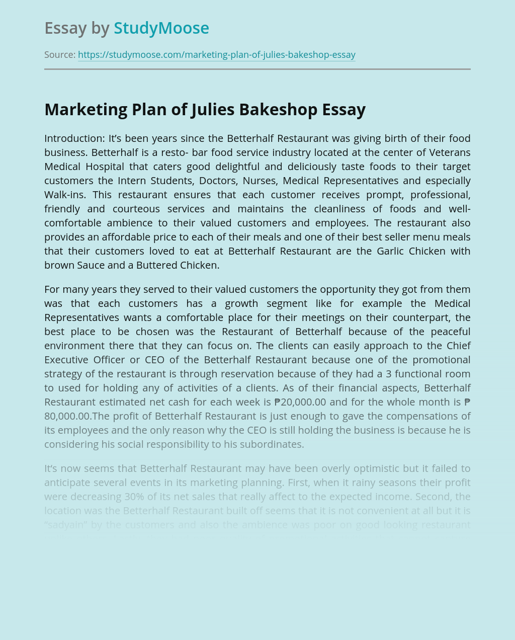 Marketing Plan of Julies Bakeshop