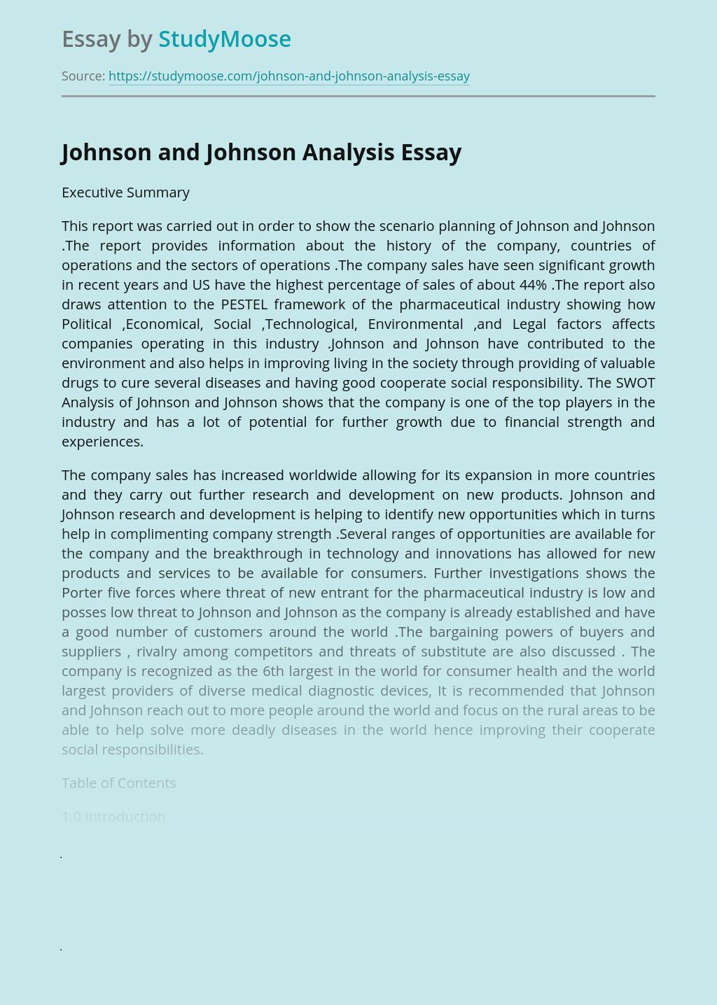 Johnson and Johnson Analysis