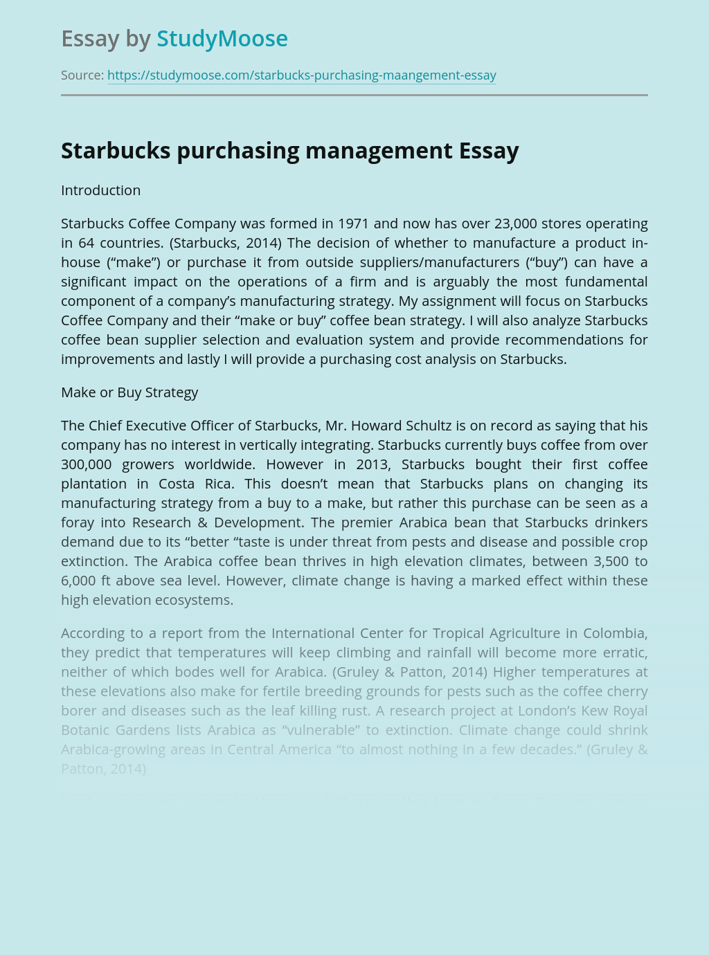Starbucks purchasing management