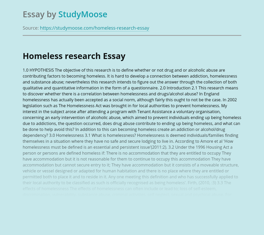 Homeless research