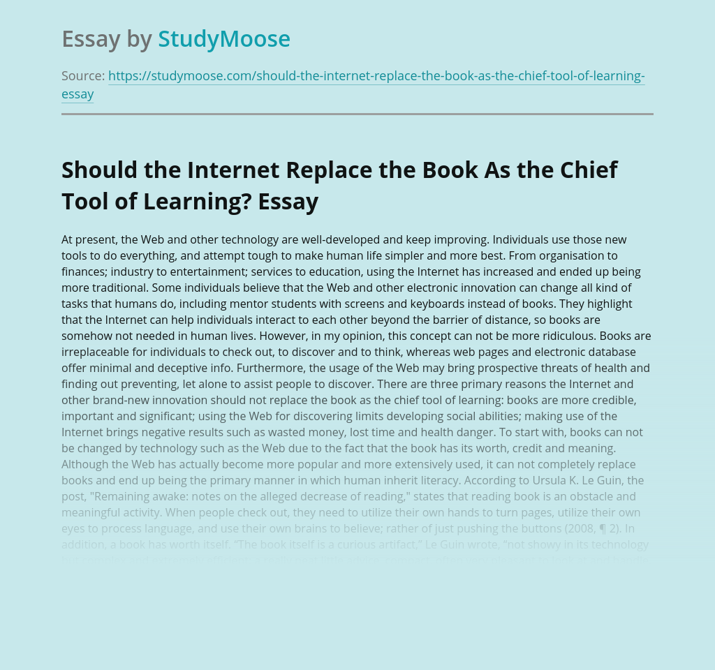 Should the Internet Replace the Book As the Chief Tool of Learning?