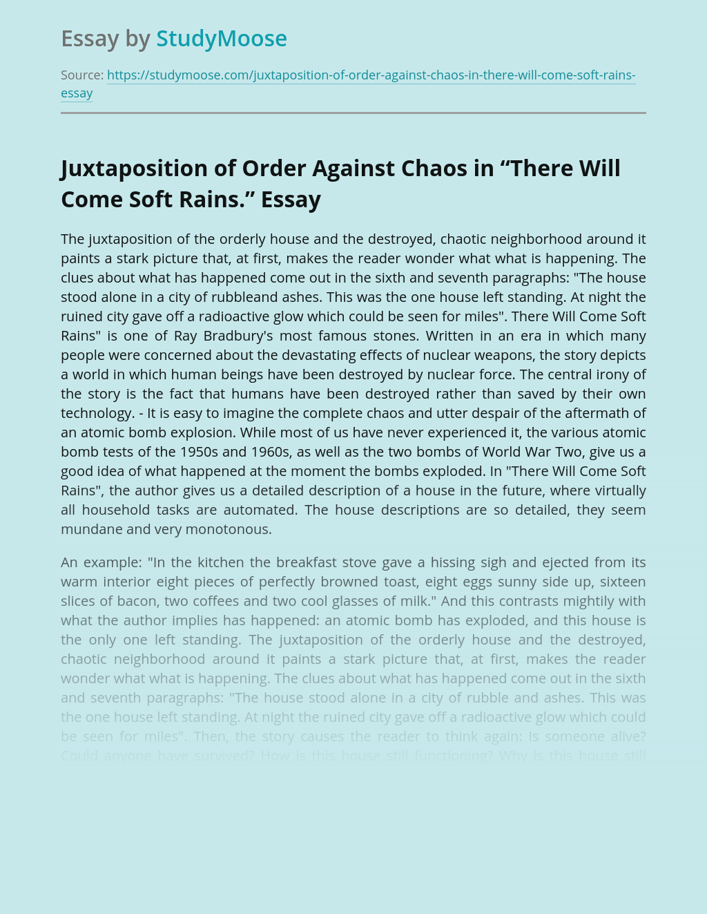 """Juxtaposition of Order Against Chaos in """"There Will Come Soft Rains."""""""