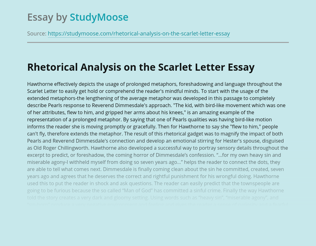 Rhetorical Analysis on the Scarlet Letter