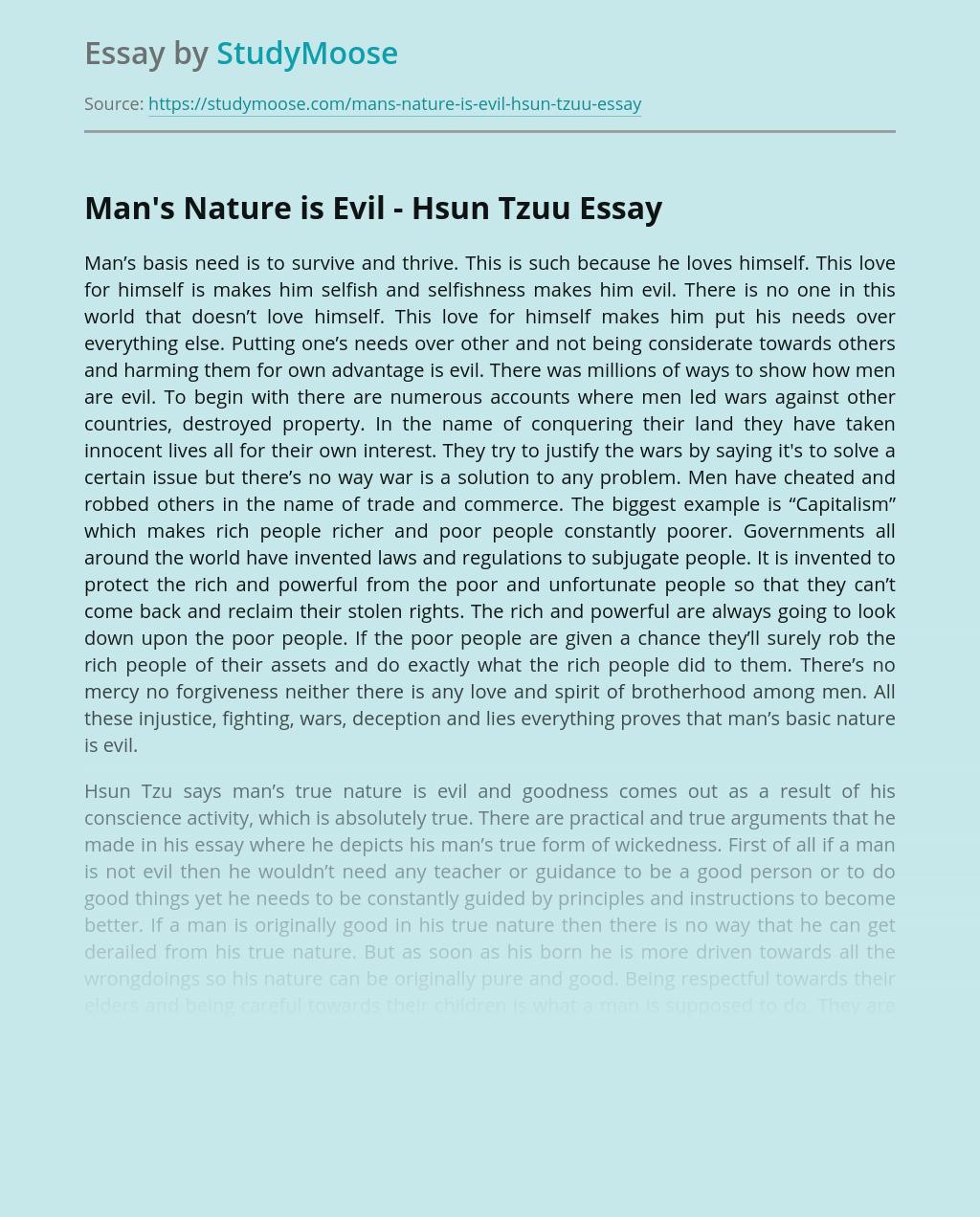 Man's Nature is Evil - Hsun Tzuu