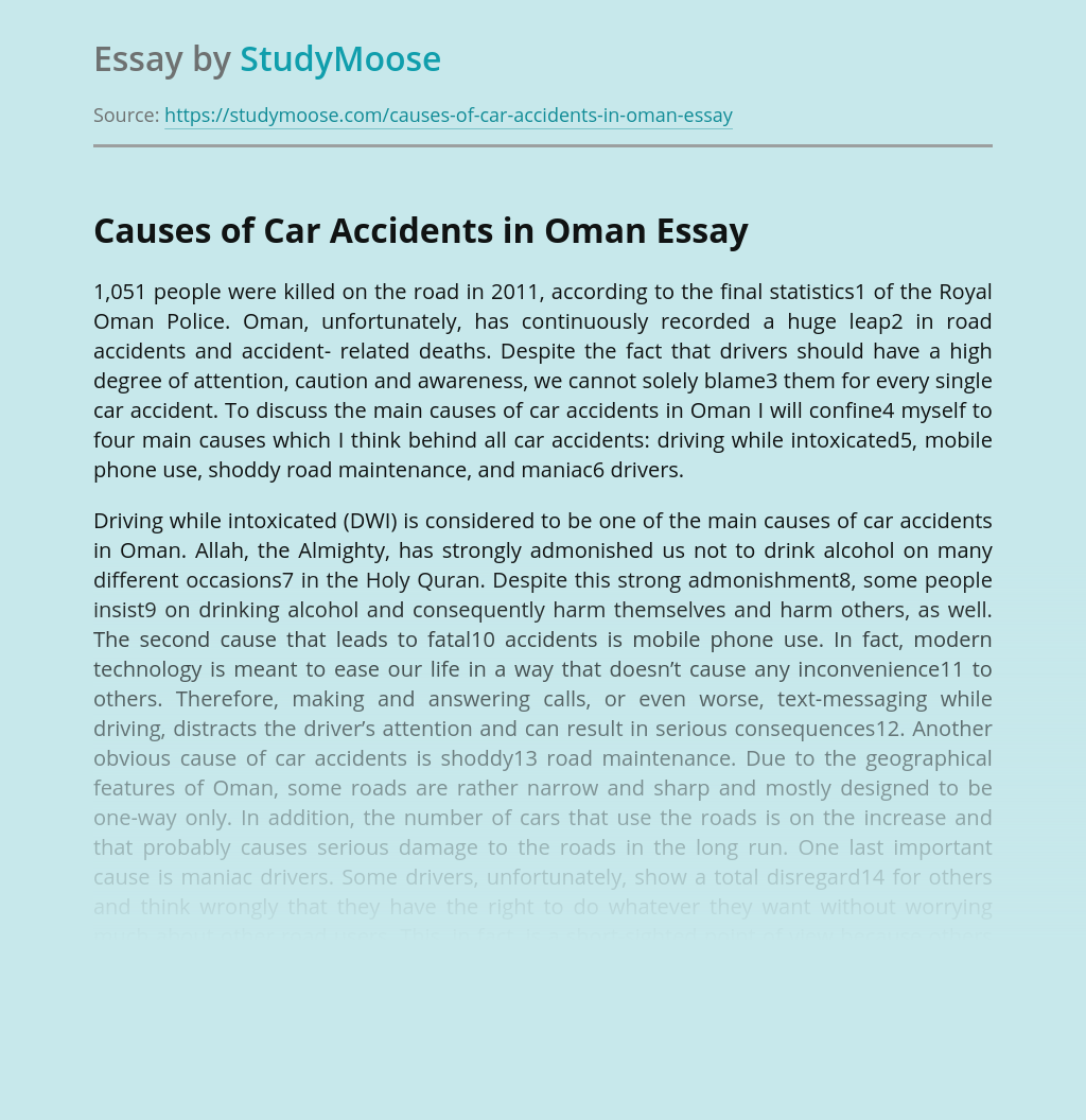 Causes of Car Accidents in Oman