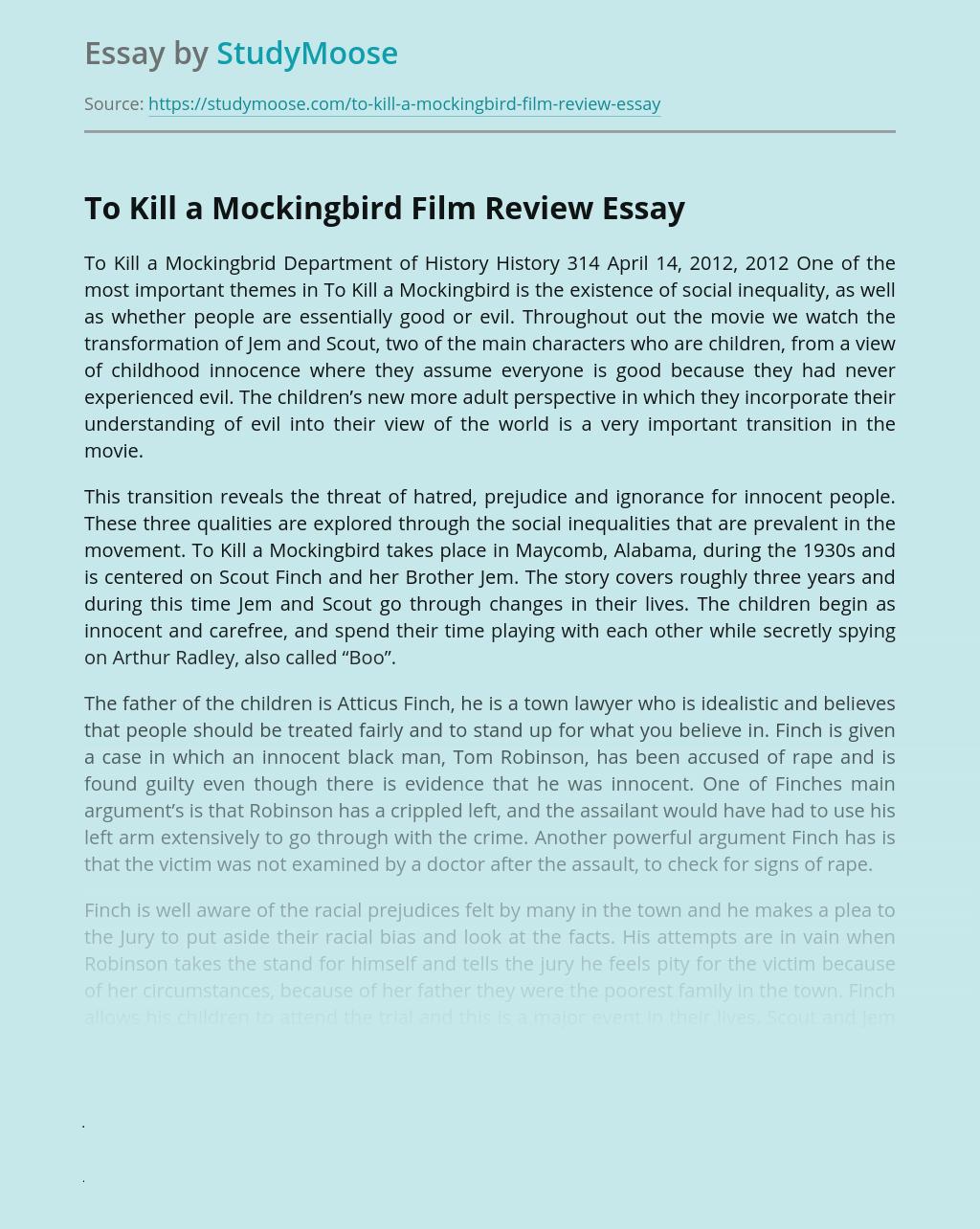 To Kill a Mockingbird Film Review