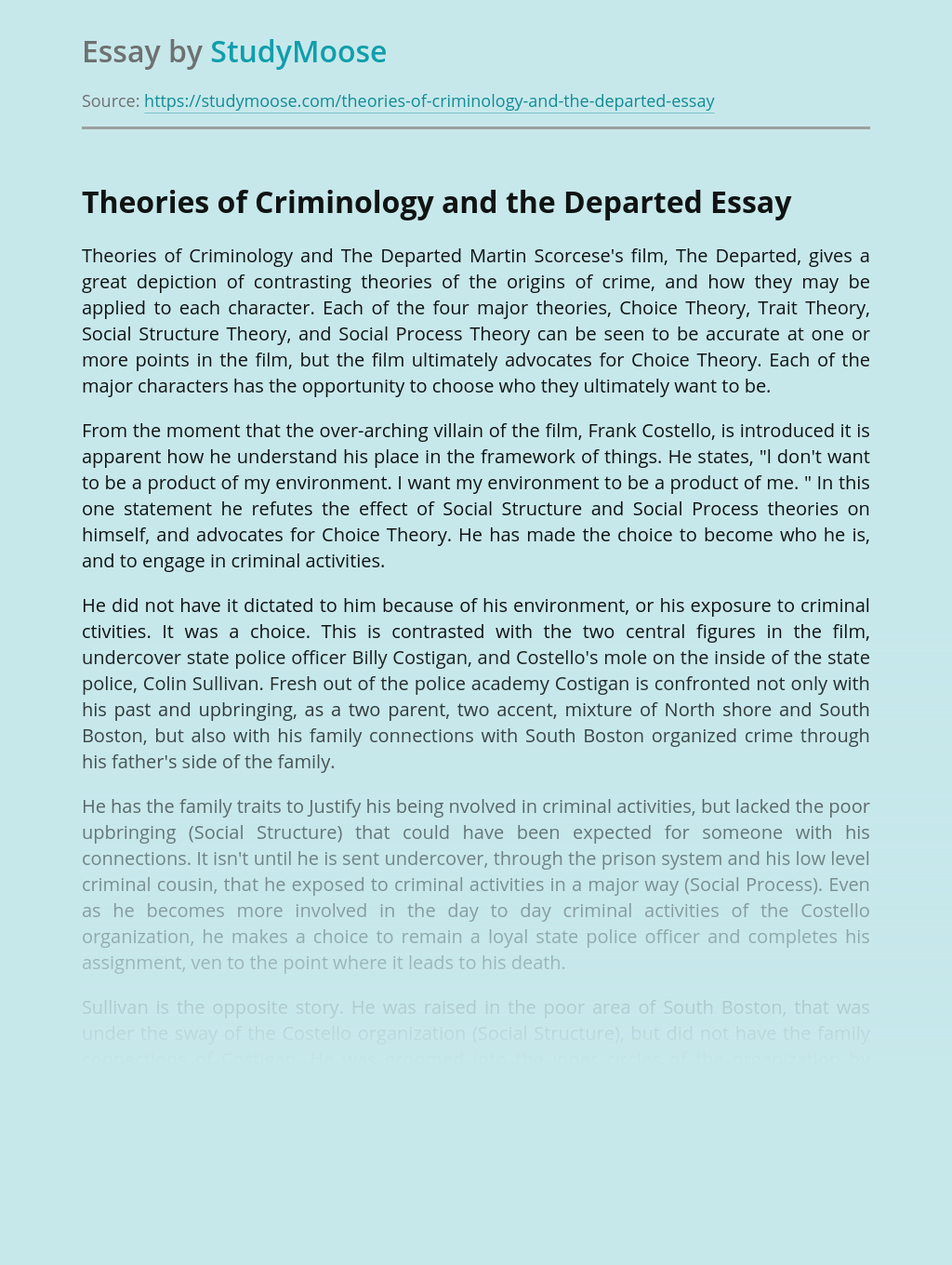 Theories of Criminology and the Departed
