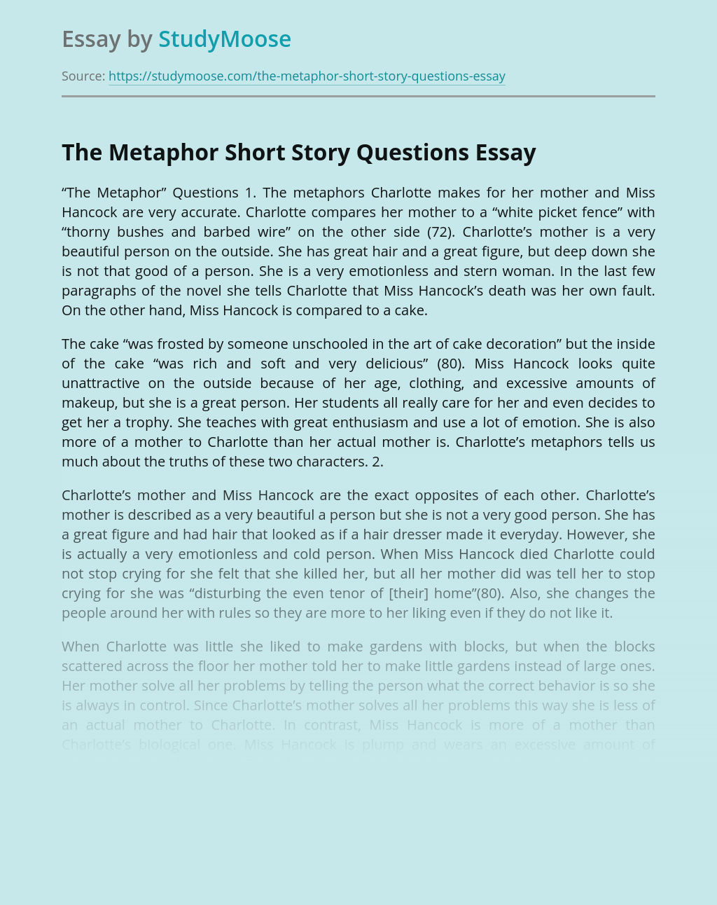 The Metaphor Short Story Questions