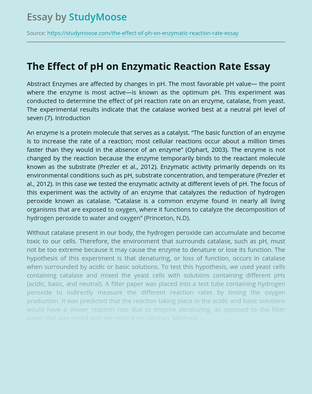 The Effect of pH on Enzymatic Reaction Rate