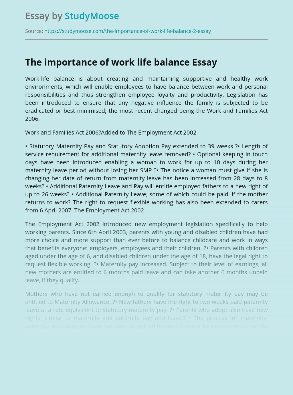 The importance of work life balance in work environments