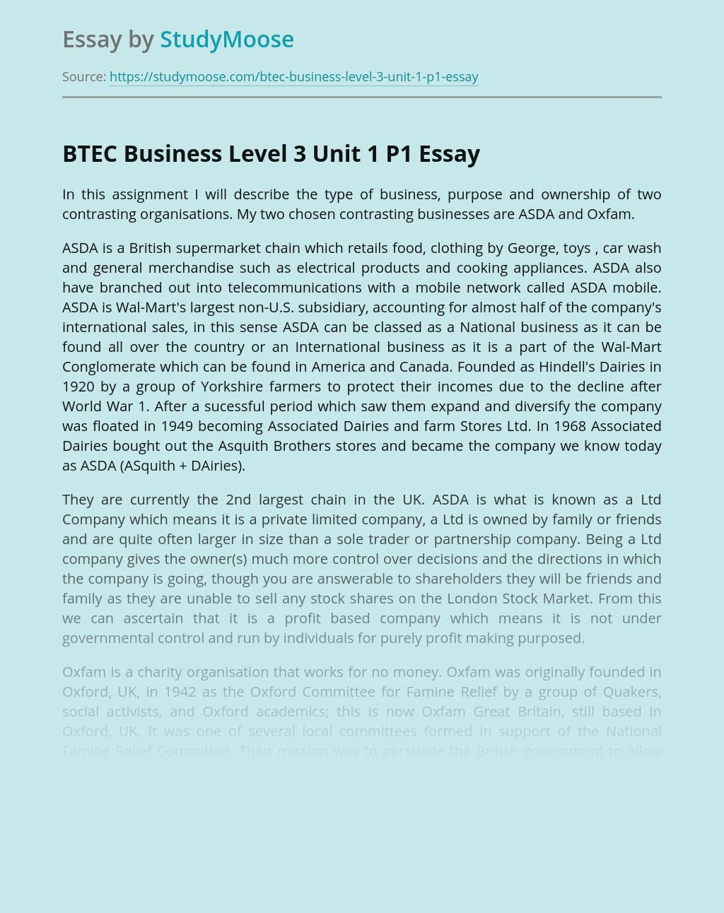 BTEC Business Level 3 Unit 1 P1