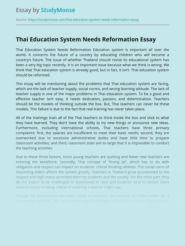 Thai Education System Needs Reformation