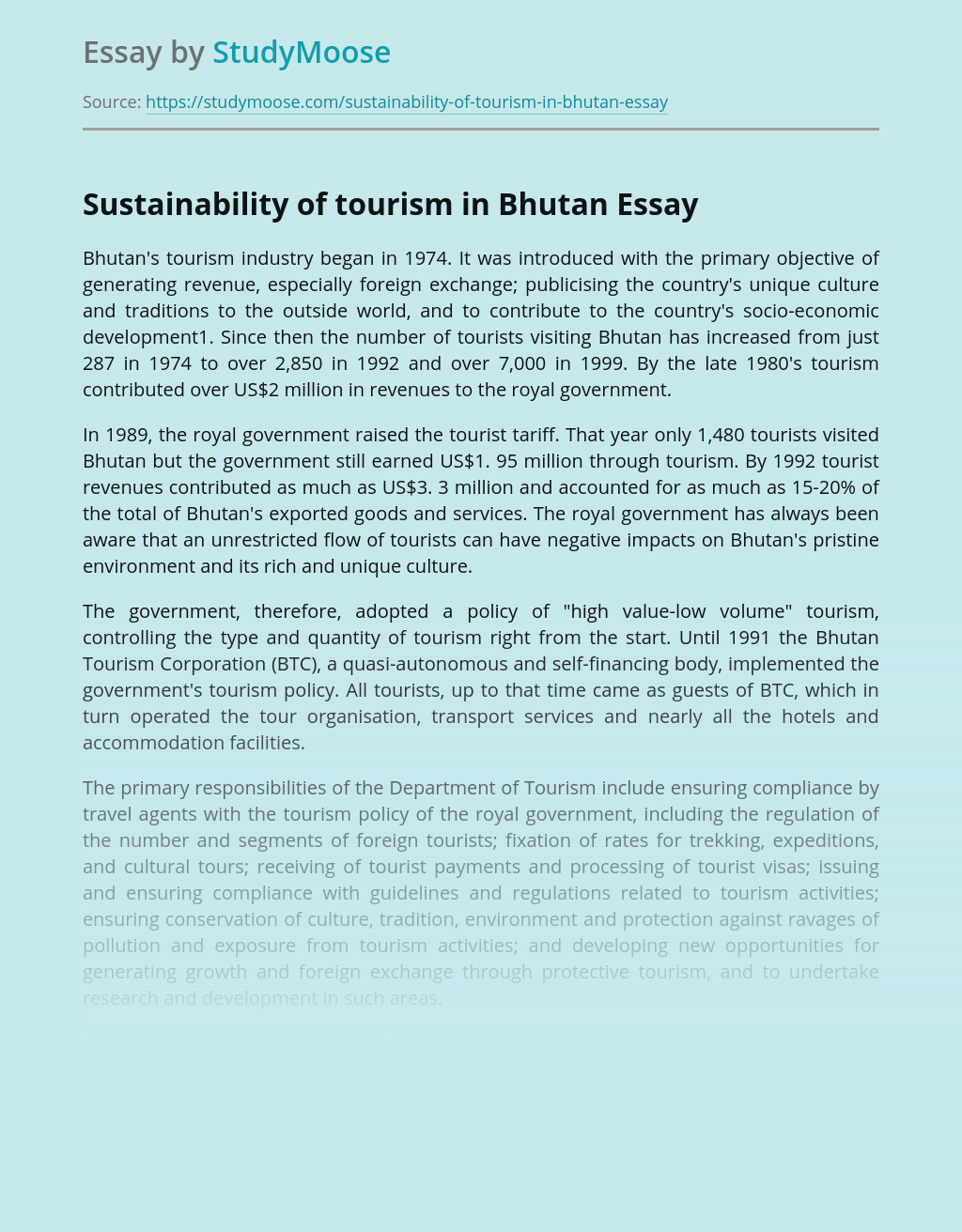 Sustainability of tourism in Bhutan