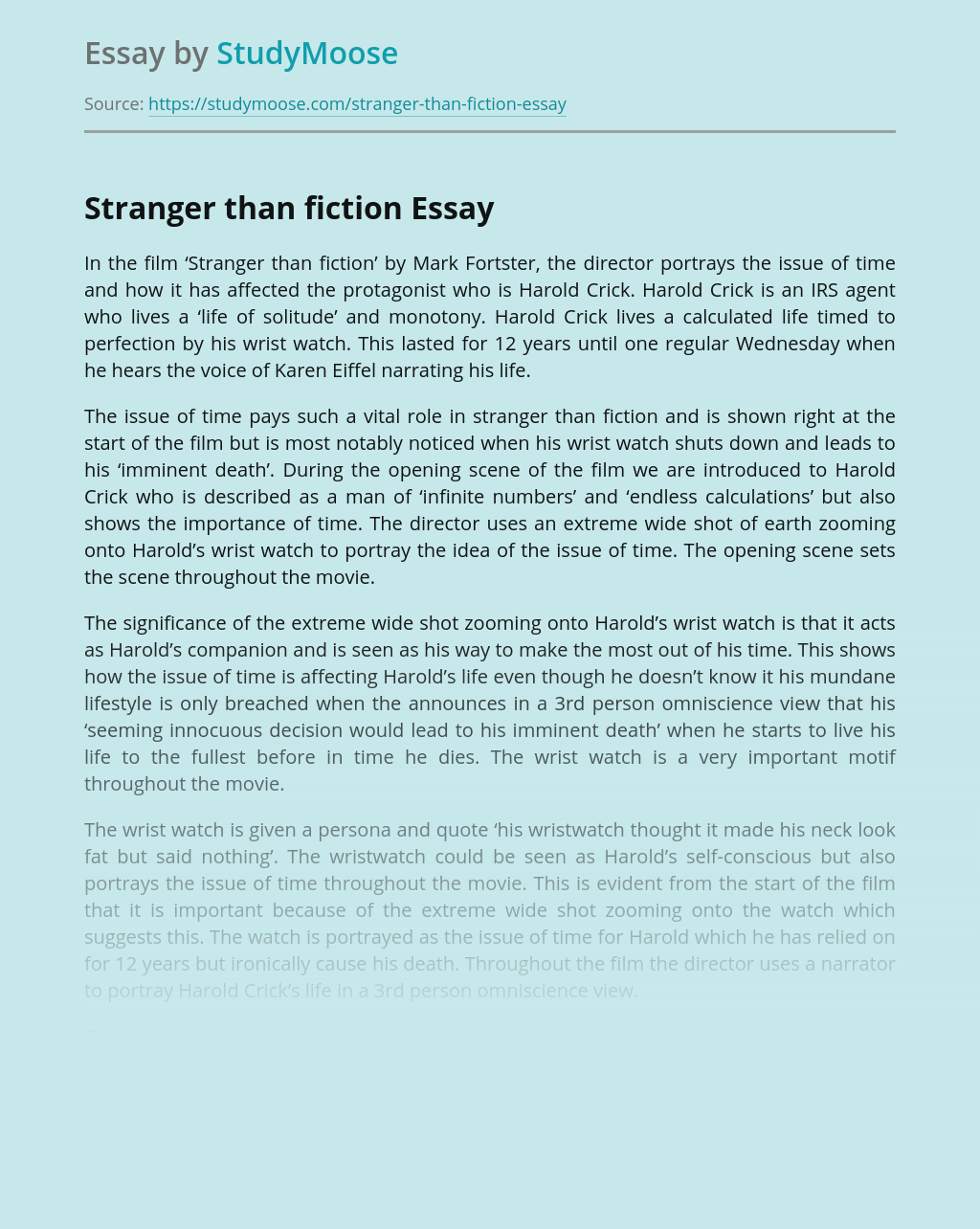 Stranger Than Fiction Movie Analysis
