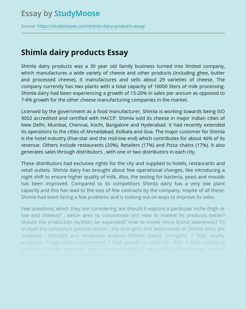 Shimla Dairy Business