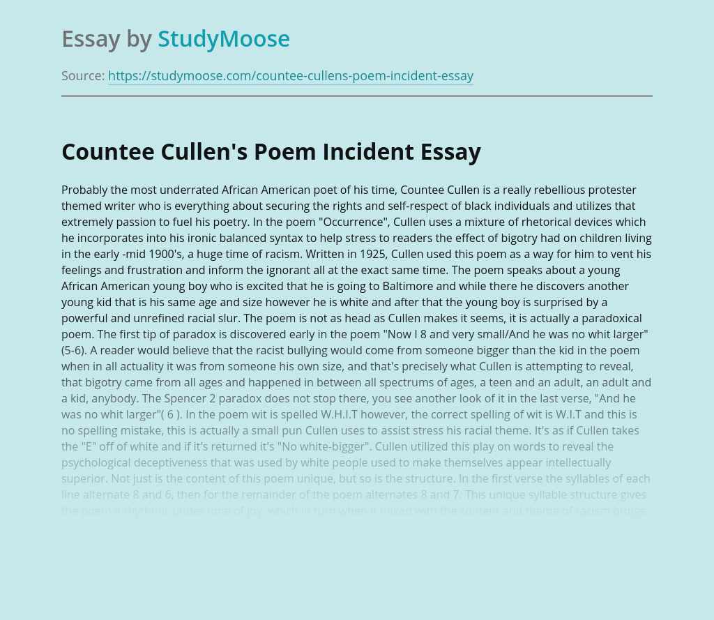 Poetry Analysis: Incident By Countee Cullen