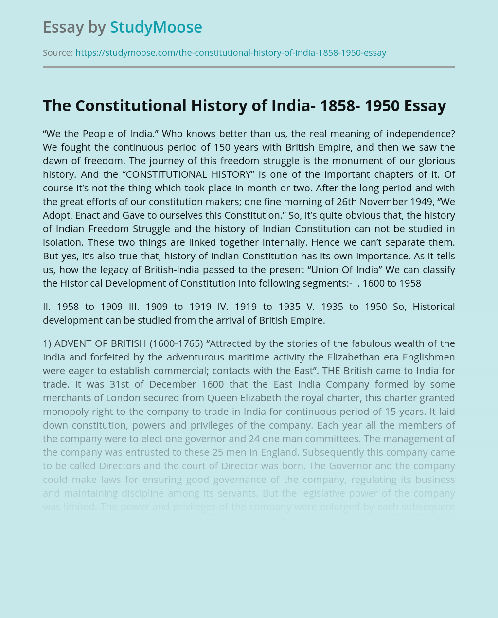 The Constitutional History of India- 1858- 1950